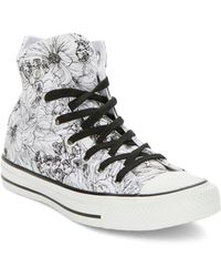 Converse Floral Lace-Up Sneakers black - Lyst