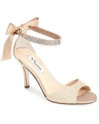 Nina 'Vinnie' Crystal Embellished Ankle Strap Sandal - Lyst