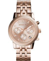 Michael Kors Womens Chronograph Ritz Rose Gold-tone Stainless Steel Bracelet Watch 37mm - Lyst