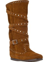 Minnetonka Tall Studded Strap Boot Brown Suede - Lyst