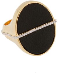 Rachel Zoe - Black Leather And 12K Gold Stamp Ring - Lyst