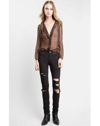 Saint Laurent Leopard Print Collarless Silk Georgette Shirt - Lyst