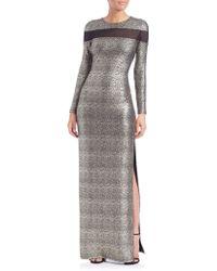 Shoshanna | Mesh-insert Sparkle Gown | Lyst