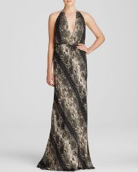 Haute Hippie Gown - Military Snake Print Halter Maxi - Lyst