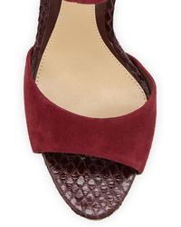 B Brian Atwood Correns Suede Ankleband Sandal - Lyst