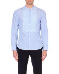 Ralph Lauren Black Label Band-Collar Contrast-Bib Cotton Shirt - For Men - Lyst