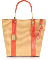 Badgley Mischka - Miranda Woven Reed Canvas and Leather Tote - Lyst