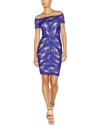 Nicole Miller Cam Lace Off The Shoulder Dress - Lyst