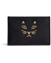 Charlotte Olympia 'Feline' Cat Face Leather Card Holder - Lyst