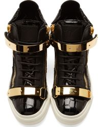 Giuseppe Zanotti Ssense Exclusive Black And Gold Patent Crocodile London High_Top Sneakers - Lyst