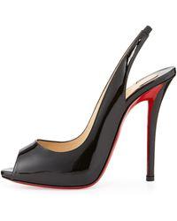 Christian Louboutin Patent Red Sole Slingback Sandal Black - Lyst