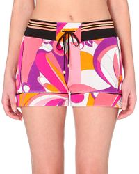 Emilio Pucci Abstract-Print Terry Shorts - Lyst