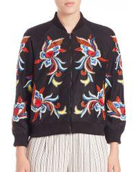 Alice + Olivia | Felisa Embellished Bomber Jacket | Lyst