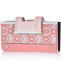 River Island Pink Jacquard Print Clip Top Purse pink - Lyst