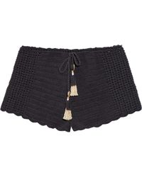 She Made Me - Essential Drawstring-waist Crochet Shorts - Lyst