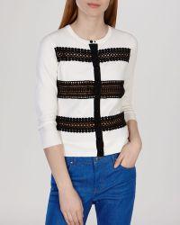 Karen Millen Cardigan - Lace Stripe Knit Collection white - Lyst