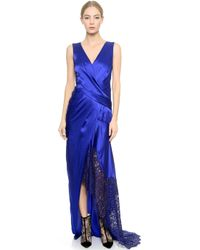 J. Mendel Lace Edge Satin Gown  Imperial Blueimperial Blue - Lyst