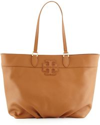 Tory Burch Leather Stacked-T Logo Tote Bag - Lyst