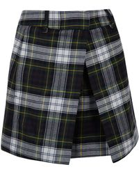 McQ by Alexander McQueen Dark Green Box Pleat Mini Skirt - Lyst
