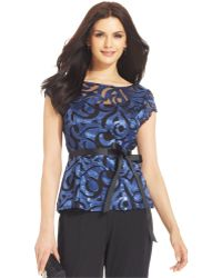 Marina Ribbon-Belt Sequined Illusion Top - Lyst