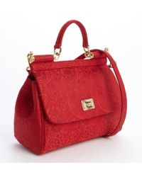 Dolce & Gabbana Red Embroidered Canvas Structured Satchel - Lyst