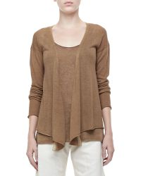 Donna Karan New York Long-Sleeve Draped Cashmere Cardigan - Lyst