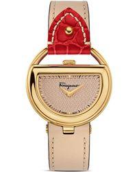 Ferragamo Ferragamo Special Edition Beige And Red Buckle Watch, 37Mm - Lyst