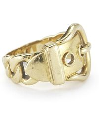 Hermes Pre-owned 18ky Gold Buckle Ring - Lyst