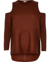 River Island | Rust Brown Ribbed Cold Shoulder Top | Lyst