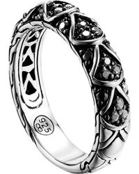John Hardy Naga Silver Lava Slim Band Ring with Black Sapphire - Lyst