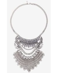 Express Layered Stone And Chain Mail Bib Necklace - Lyst