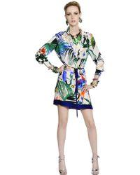 Roberto Cavalli Printed Silk Crepe De Chine Shirt Dress - Lyst