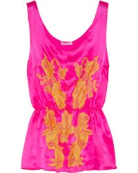Rosamosario | Bling Bling Love Silksatin and Lace Camisole | Lyst
