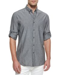 John Varvatos Solid Roll-Tab Woven Shirt - Lyst