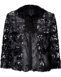 Anna Sui Sequined Faux Fur Jacket - Lyst