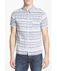 Native Youth Trim Fit Short Sleeve Tapestry Jacquard Woven Shirt - Lyst