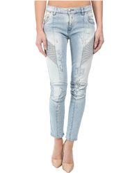 Balmain Light Wash Distressed Skinny Jeans In Light Wash - Lyst