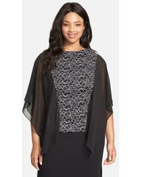 Alex Evenings Jacquard Blouse With Chiffon Cascade Sleeves - Lyst