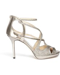 Jimmy Choo Vidane Lamé Glitter Mirror Leather Sandals - Lyst