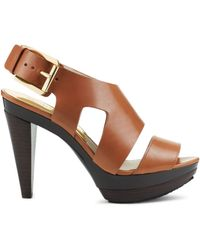 Michael Kors Carla Leather Platform Sandal - Lyst