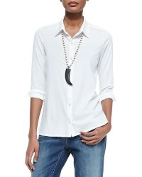 Eileen Fisher High-low Button-front Shirt - Lyst