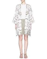 Chloé   Floral Embroidery Cotton-linen Overcoat   Lyst