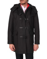 Vicomte A. Wool Duffel Coat With Yellow Lining And Removable Hood - Lyst