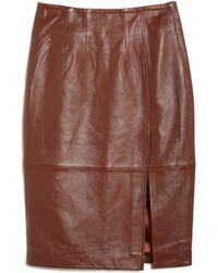 Ganni | Moss Leather Skirt | Lyst