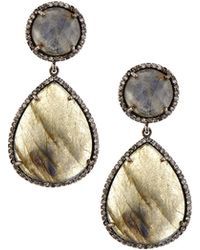 Siena Jewelry - Labradorite Diamond Teardrop Earrings - Lyst