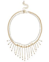 River Island White and Gold Statement Necklace - Lyst