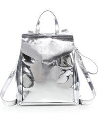 Loeffler Randall Mini Metallic Backpack silver - Lyst