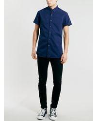 Topman Navy Twill Short Sleeve Shirt - Lyst