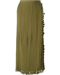 Issey Miyake Wrap-Style Pleated Skirt green - Lyst