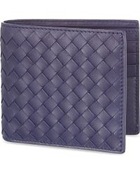 Bottega Veneta Intrecciato Leather Wallet - For Women blue - Lyst